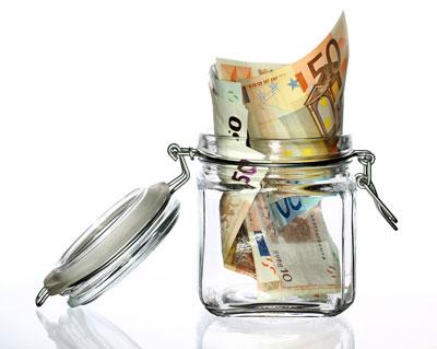 euroscheine im glas